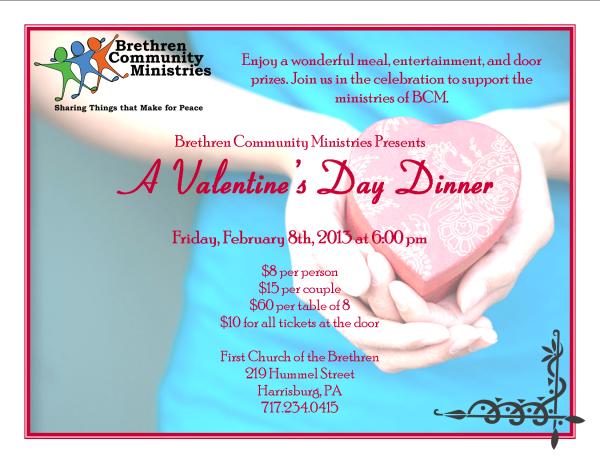 2013 Valentine's Dinner flyer